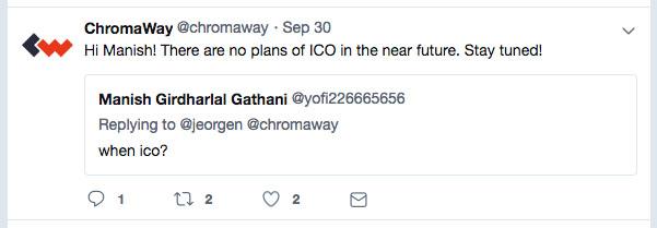 CromaWay Twitter вопрос о дате ICO - обзор Top7ICO на сайте Coinlog.ru